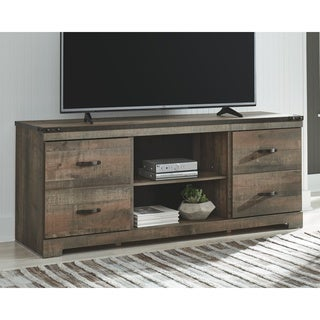 Trinell Casual Large TV Stand w/Fireplace Option, Brown