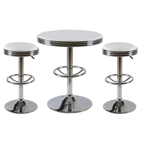 Best Master Furniture 3 Pieces Stainless Steel Adjustable Bar Set