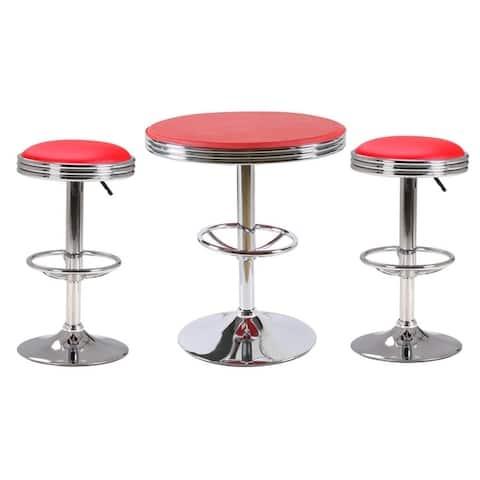 Best Master Furniture 3 Pieces Stainless Steel Adjustable Bar Set