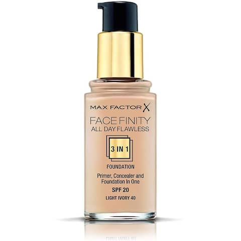 Max Factor FaceFinity All Day Flawless 3 in 1 Foundation, Primer and Concealer, SPF 20 Light Ivory 40