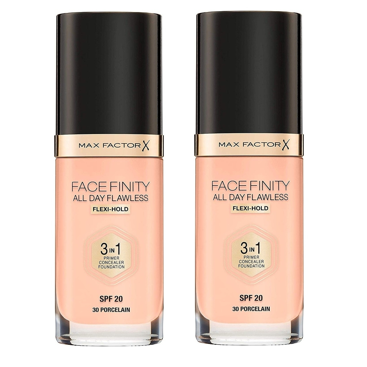 Max Factor FaceFinity All Day Flawless 3 in 1 Foundation, Primer and Concealer, SPF 20 Porcelain 30