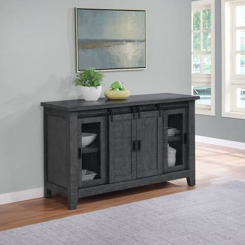 Best Quality Furniture Dark Grey Wood Dining Servers with 2 Sliding Doors