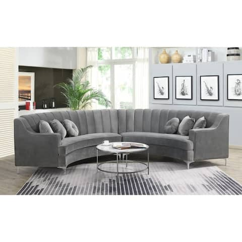 Modern Curved Velvet Sectional Sofa (141.8 x 28 x 35.1) - 141.8x28x35.1