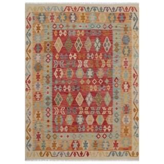 Handmade One-of-a-Kind Wool Kilim (Afghanistan) - 5'10 x 8'1