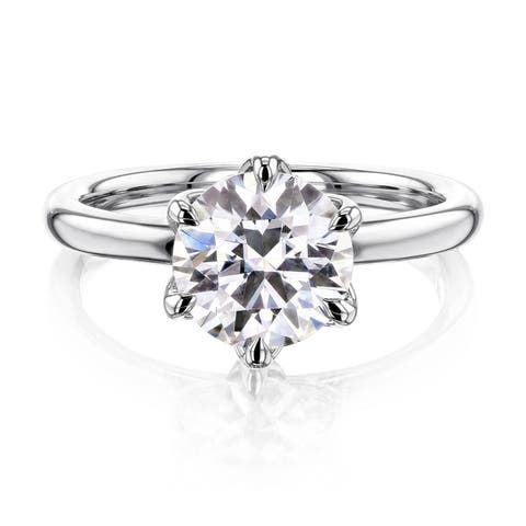 Annello by Kobelli 14k Gold 1.9 Carat Round Moissanite Solitaire 6-Prong Floating Tulip Head Comfort Fit Engagement Ring