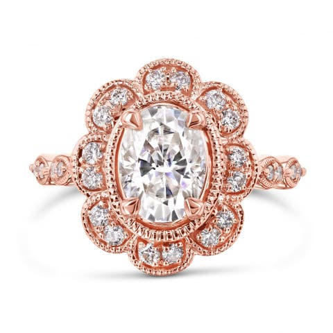 Annello by Kobelli 10k Rose Gold 1 7/8ct TGW Moissanite and Diamond Royal Oval Floral Vintage Filigree Engagement Ring