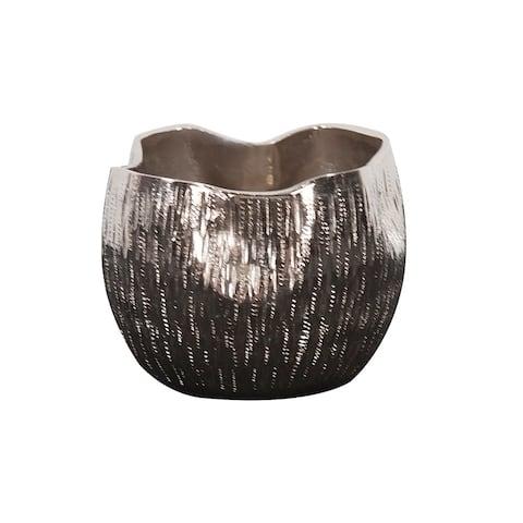 Textured Bright Silver Aluminum Pinch pot Votive Holder, Small
