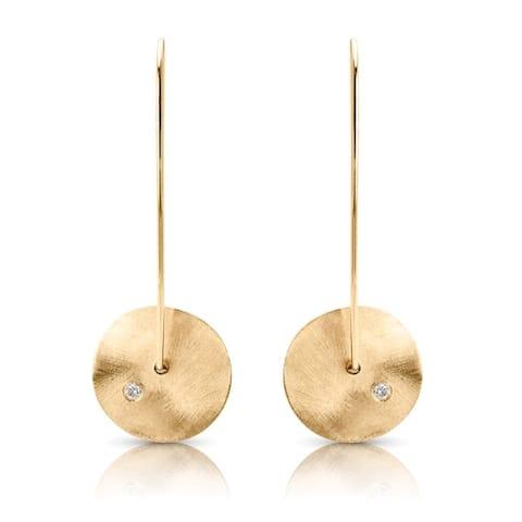 14 karat Yellow Gold Disc Diamond Earrings
