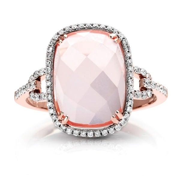 14 Karat Rose Gold with Pink Quartz & Diamond Ring