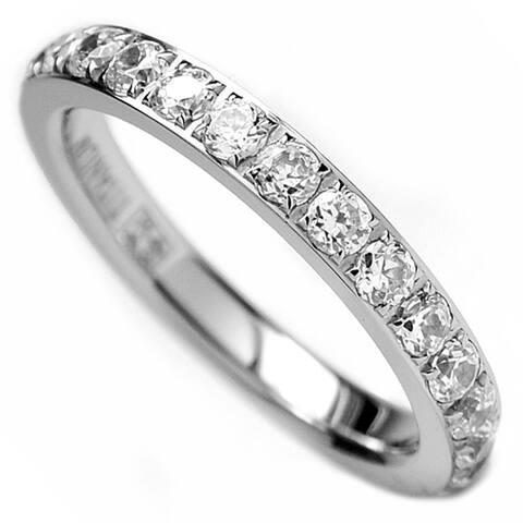 Oliveti Women's 3MM Ladies Titanium Eternity Engagement Band Wedding Ring Pave Set Cubic Zirconia Sz 4-9