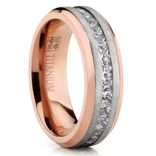 Link to Oliveti Men's Rose Plated Brushed Titanium Wedding Ring Eternity Band with Channel Set Princess Cut Cubic Zirconia 8mm Similar Items in Men's Jewelry