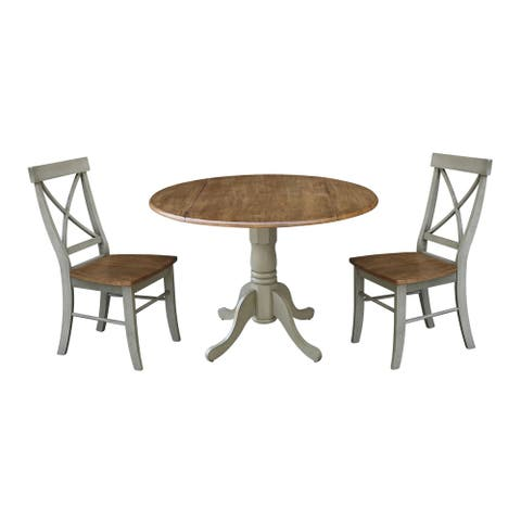 """42"""" Dual Drop Leaf Table With 2 X-Back Chairs - Set of 3 Pieces"""