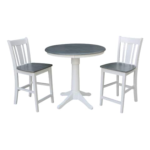 """36"""" Round Pedestal Gathering Height Table With 2 San Remo Counter Height Stools - Set of 3 Pieces"""