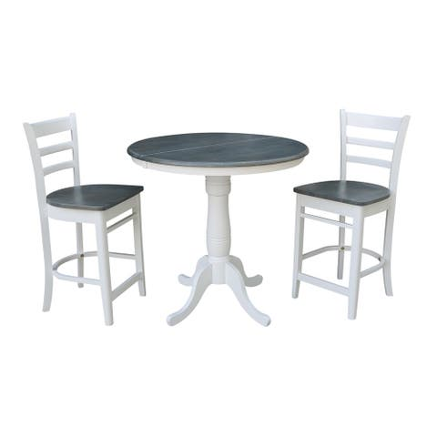 "36"" Round Extension Dining Table With 2 Emily Counter Height Stools - Set of 3 Pieces"