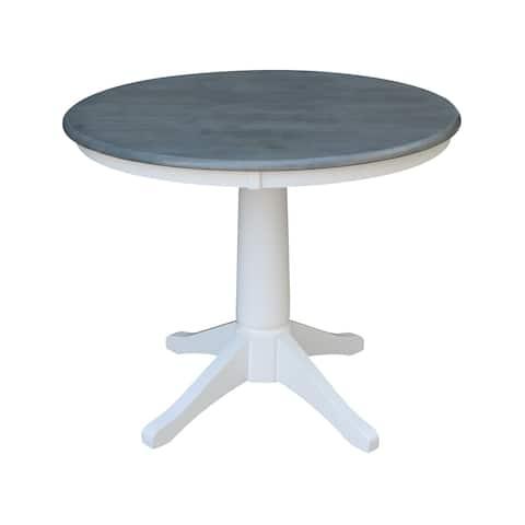 """36"""" Round Top Pedestal Table - White/Heather Gray"""