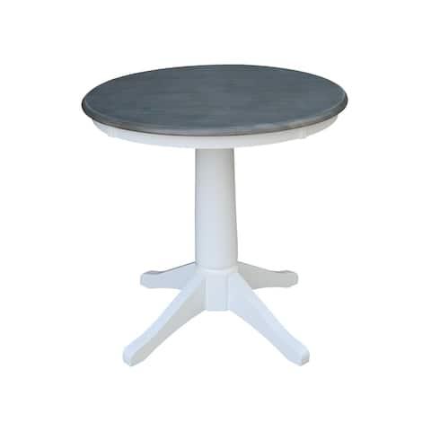 """30"""" Round Top Pedestal Table - White/Heather Gray"""