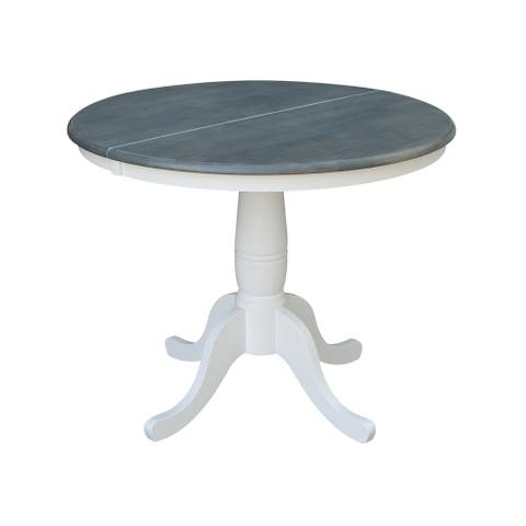 """36"""" Round Top Pedestal Table with 12"""" Leaf - White/Heather Gray"""