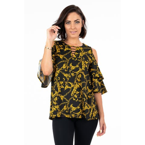 Women's Cold Shoulder Printed Blouse Top with Bell Sleeves