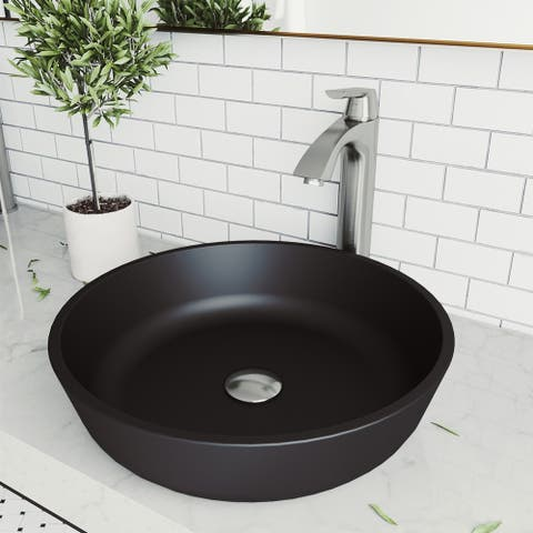 Modus Glass Round Vessel Bathroom Sink Set With Linus Faucet in Brushed Nickel
