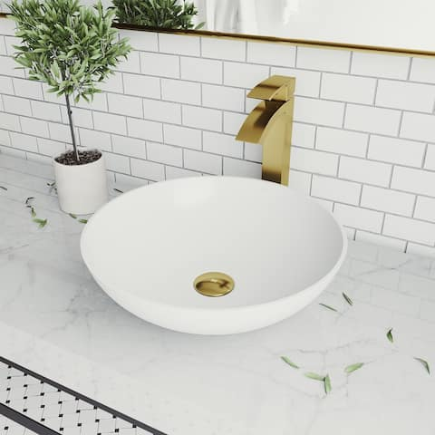 Lotus Matte stone Round Vessel Bathroom Sink Set With Duris Faucet in Matte Gold