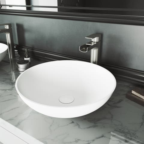 Lotus Matte stone Round Vessel Bathroom Sink Set With Amada Faucet in Brushed Nickel