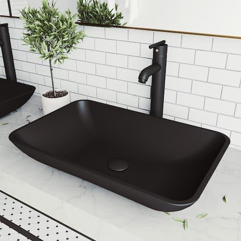Hadyn Glass Rectangle Vessel Bathroom Sink Set With Seville Faucet in Matte Black