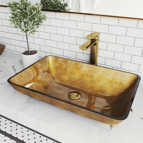 Copper Glass Rectangle Vessel Bathroom Sink Set With Norfolk Faucet in Matte Gold
