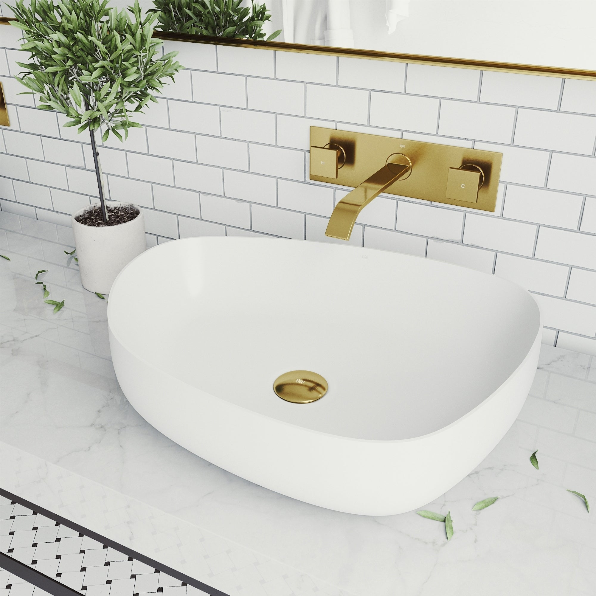 Picture of: Shop Peony Matte Stone Vessel Bathroom Sink Set With Titus Wall Mount Faucet In Matte Gold Overstock 30886439