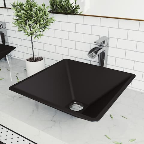 Serato Glass Square Vessel Bathroom Sink Set With Niko Faucet in Chrome