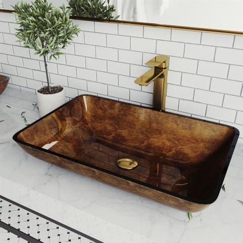 Russet Glass Rectangle Vessel Bathroom Sink Set With Norfolk Faucet in Matte Gold