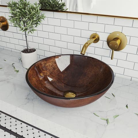 Russet Glass Vessel Bathroom Sink Set With Olus Wall Mount Faucet In Matte Gold