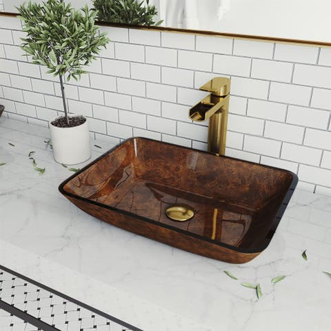 Russet Glass Rectangle Vessel Bathroom Sink Set With Amada Faucet in Matte Gold