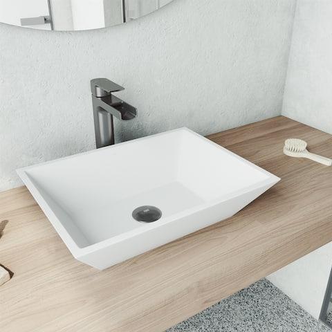Vinca Rectangle Matte stone Vessel Bathroom Sink Set in Matte White with Faucet in Graphite Black
