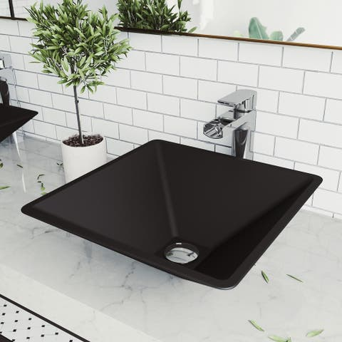 Serato Glass Square Vessel Bathroom Sink Set With Amada Faucet in Chrome