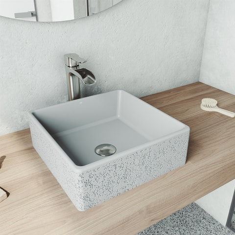 Aster Square Concrete Vessel Bathroom Sink Set in Ash with Faucet in Brushed Nickel