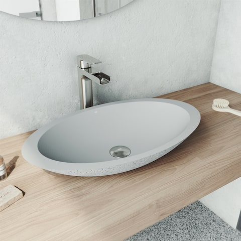 Yarrow Oval Concrete Vessel Bathroom Sink Set in Ash with Faucet in Brushed Nickel