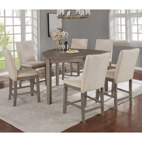 Best Quality Furniture 7-Piece Counter Height Dining Set with Upholstered Counter Height Dining Chairs and Triangle Shaped Table