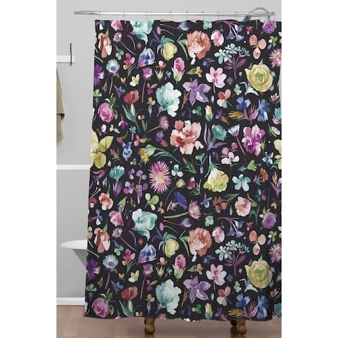 Deny Designs Botanical Black Multicolored Shower Curtain