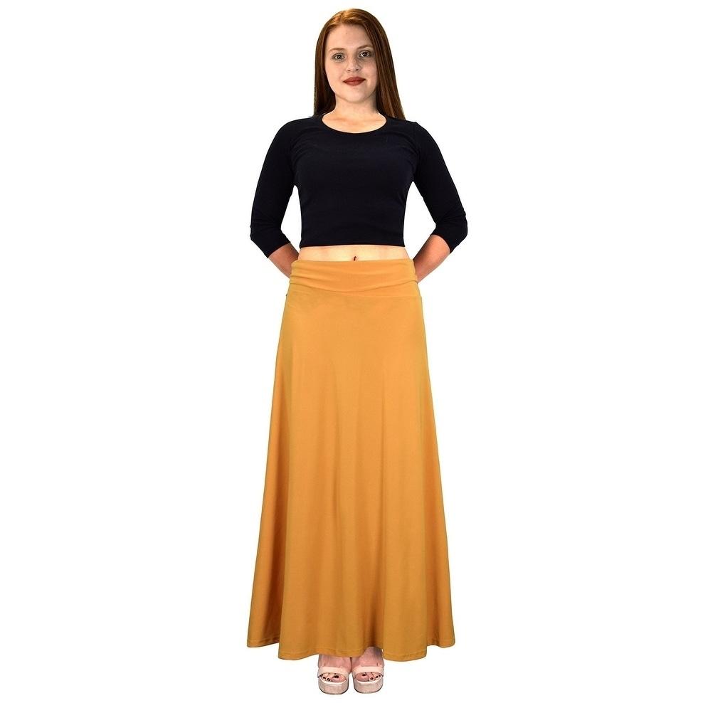 Peach Couture Women Summer Variety Fold Over Long Jersey Maxi Skirt