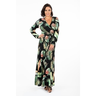 Women's Printed Maxi Dress with Long Sleeves