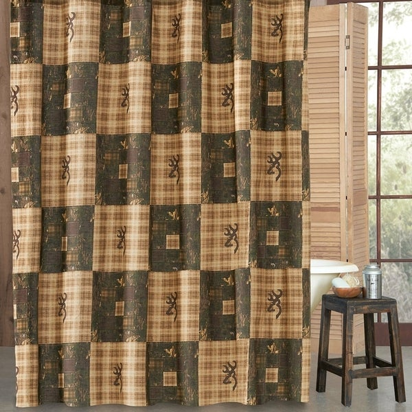 """Cotton Blend Browning Shower Curtain Camo Plaid 72"""" x 72"""". Opens flyout."""