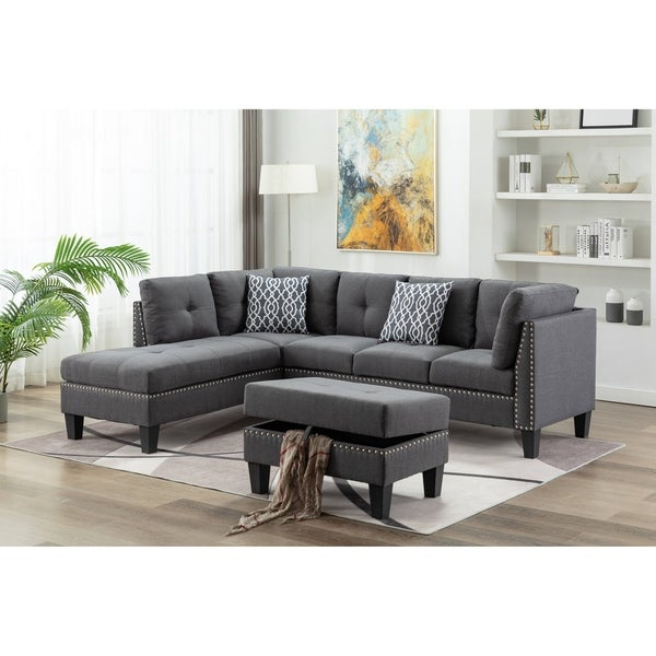 3 Pieces Nailhead Trim Sectional Sofa With Ottoman. Opens flyout.
