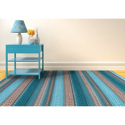 The Curated Nomad Bluebell Modern Design Flatweave Cotton Area Rug