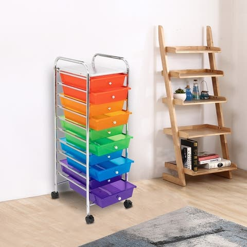 10-Drawer Smooth Rolling Casters Storage Bin Organizer Cart for Home and Office