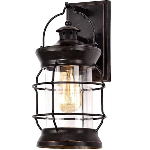Oil Rubbed Bronze Finish Metal with Clear Glass Outdoor Wall Sconce