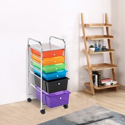 6-Drawer Storage Bin Organizer Cart Rolling Cart with 4-Whells Multi-colored