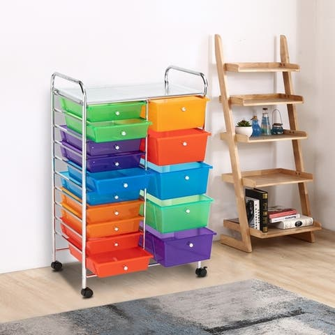 Rolling Storage Cart and Organizer with 12 Plastic Drawers for School Office Home Beauty Salon