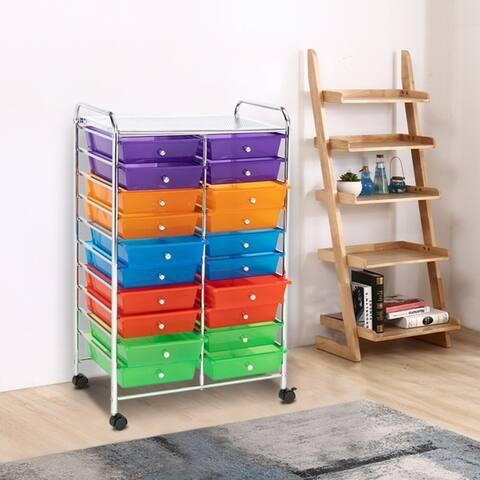 20 Drawer Rolling Storage Cart Tools Scrapbook Paper Office School Organizer