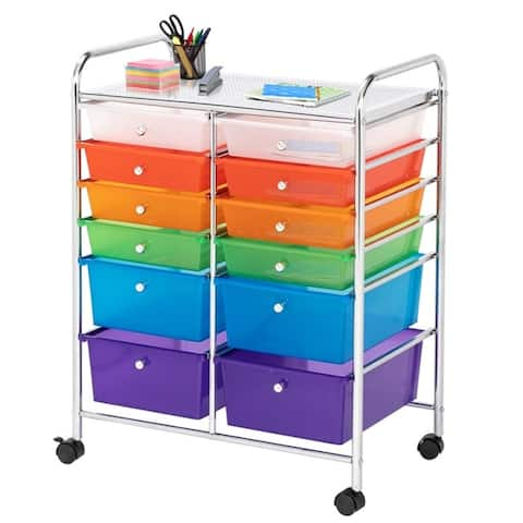 12-Drawers Organizer Cart Office School Storage Cart Rolling Drawer Cart for Tools, Scrapbook, Paper