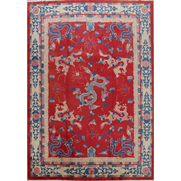 Shop Red Dragons Design Art Deco Chinese Oriental Area Rug